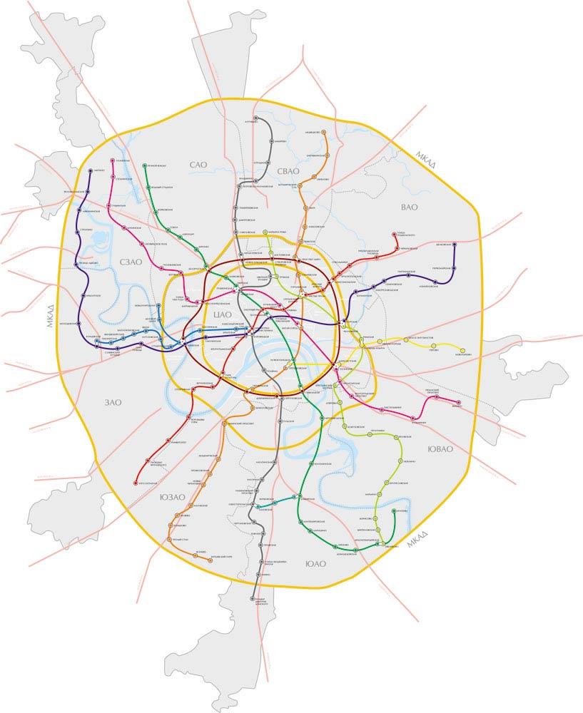 Карта Москвы с привязкой схемы метро к административным округам; создана для поисковика сайта агентства недвижимости...